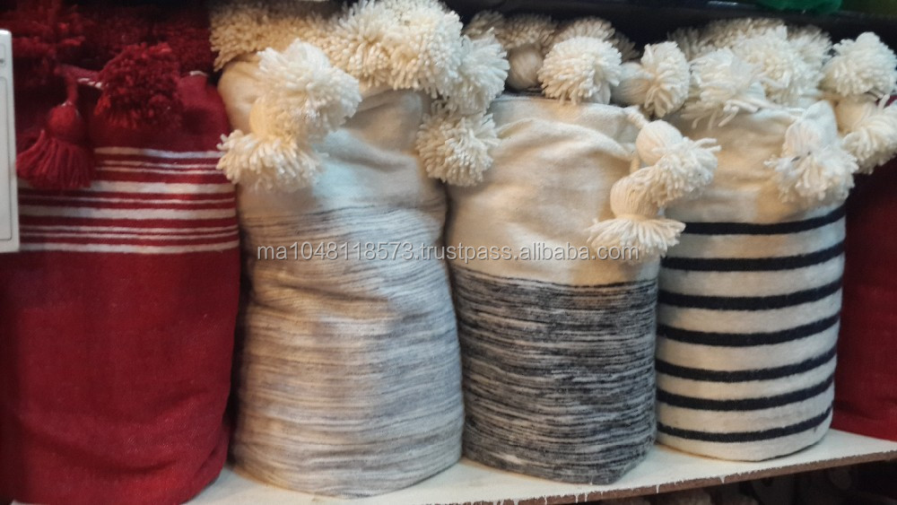 Moroccan Wool Blankets with pompoms.