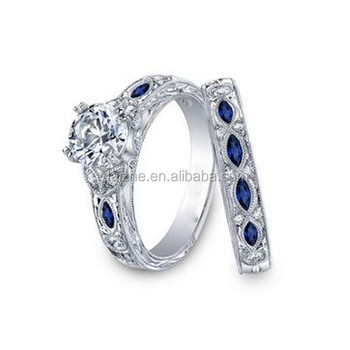 wholesale wholesale women jewelry blue sapphire wedding ring set