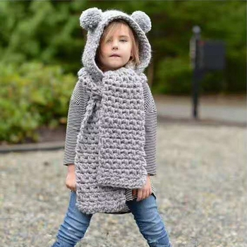S3449 winter fashion 2018 knitting crochet animal patterns hooded scarf with pompoms