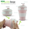 Silicone Travel Collapsible Cup/Mug, Reusable silicone Collapsible cup for hiking/camping with Leak Proof Lid 12 oz