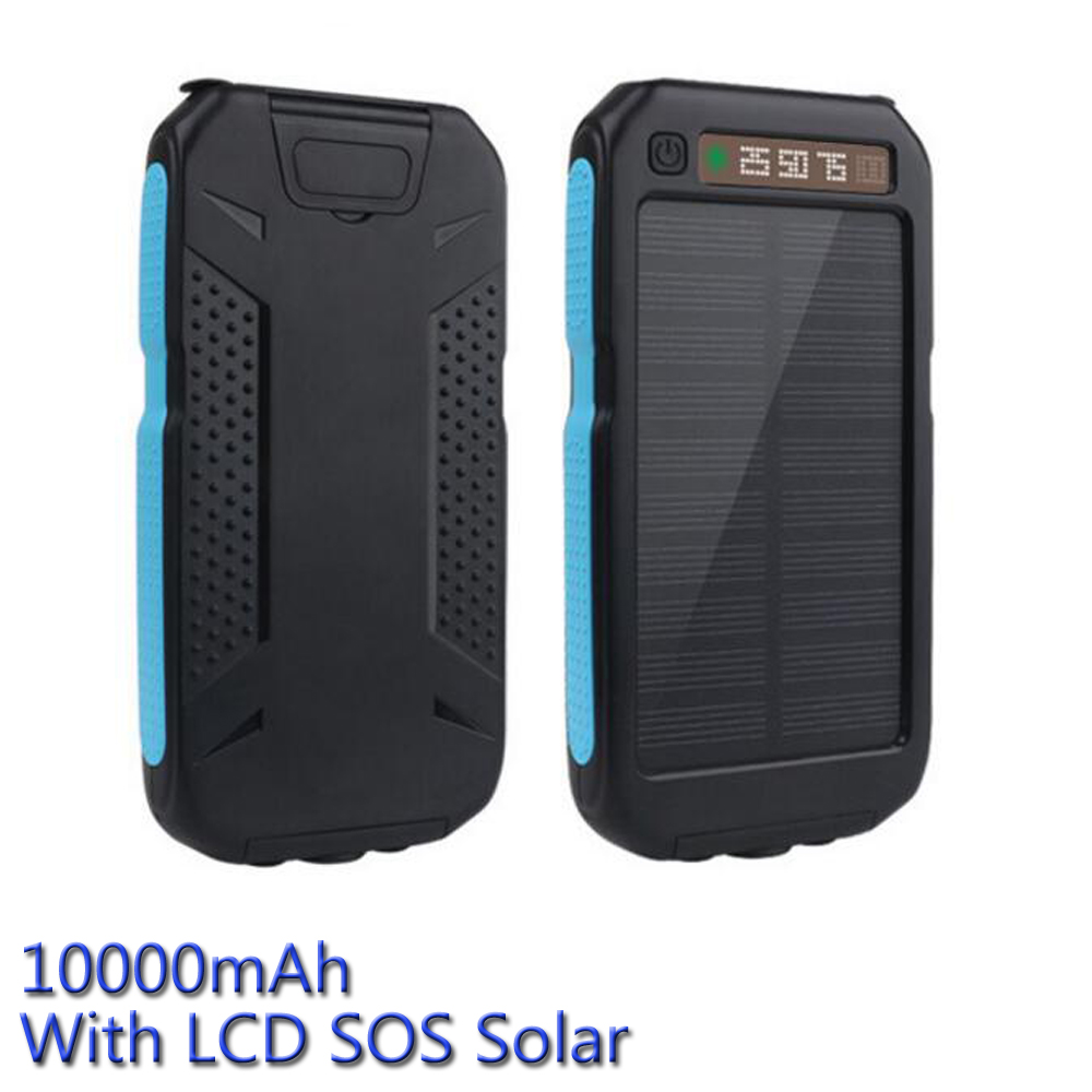 OEM Solar Power Bank 10000mAh Solar Charger Powerbank With SOS LED Lamp Portable Charger For all Phones