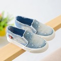 2016 Autumn Canvas Children Shoes for Girls Fashion Kids Sneakers Elastic Band Denim Kids Shoes Jeans