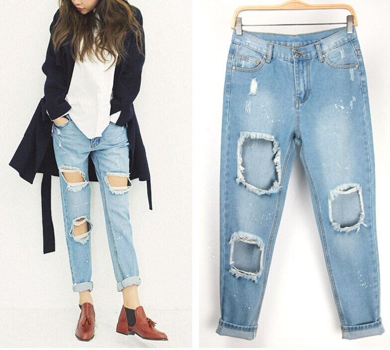 e32264a2048 Get Quotations · Hot sale 2015 new fashion jeans woman baggy and skinny  jeans ripped jeans high quality light