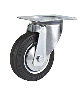 rubber and die cast iron wheel caster industrial swivel plate caster