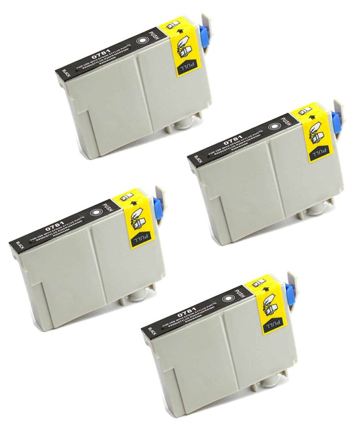 4 Pack Remanufactured Inkjet Cartridges for Epson T078 #78 T078120 Compatible With Epson Artisan 50, Stylus Photo R260, Stylus Photo R280, Stylus Photo R380, Stylus Photo RX580, Stylus Photo RX595, Stylus Photo RX680 (4 Black) 4PK by Aria Supplies ®