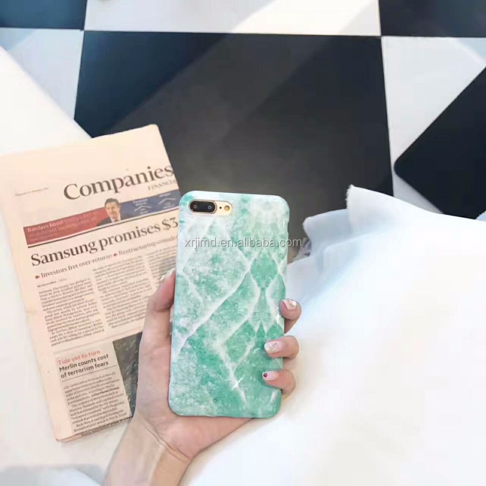 Return to the ancients with Jade stone pattern, emerald green IMD craft hard PC case for iPhone 6/6/plus/7/7plus/8