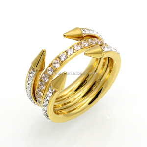Fashion Hot Style Ring With Three Times Tricyclic Four Round Tip Latest Wedding Ring Designs