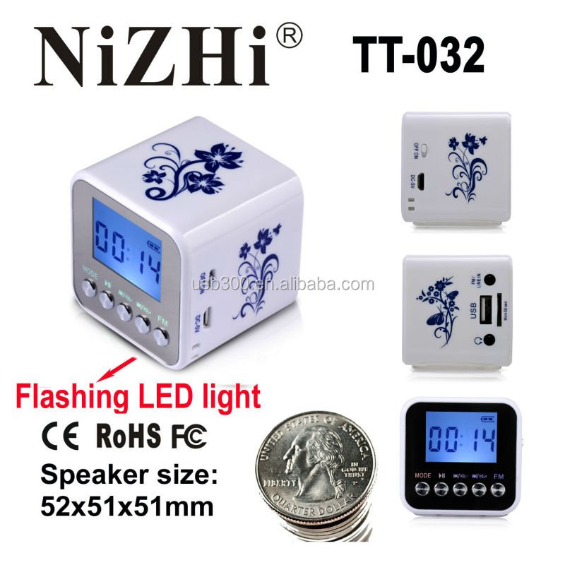 NiZHi TT032A rechargeable novelty portable mini speaker with fm radio and LED light
