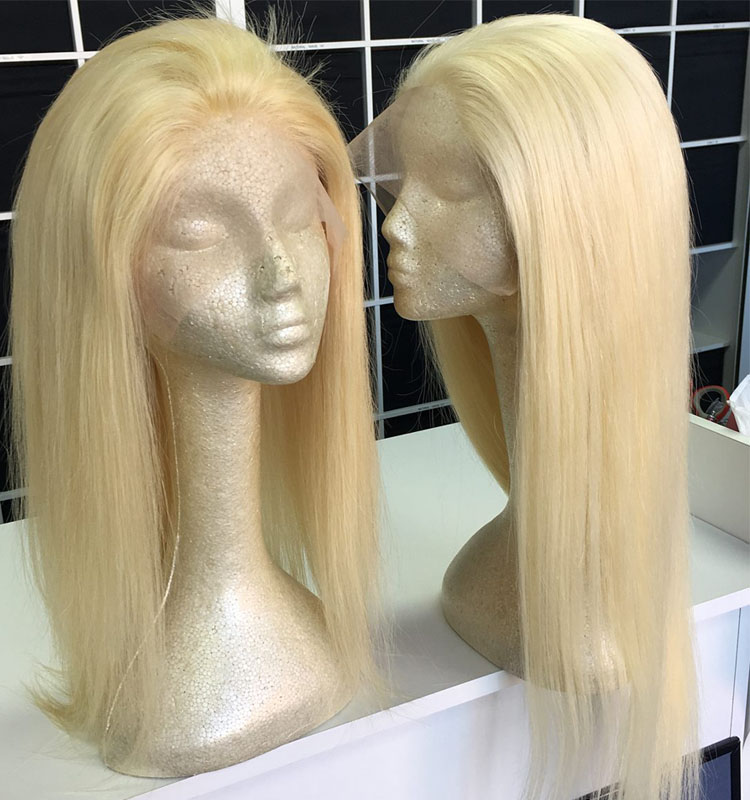 Virgin Blonde Lace Wig Overnight Delivery Blonde Indian Hair Wig 8 inch -26 inch Glueless Human Hair Full Lace Blonde Wig
