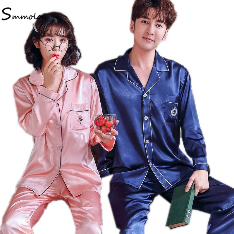 Smmoloa Couple Silk Pajamas Couple Sleepwear Floral Embroidery Silk Pyjama фото