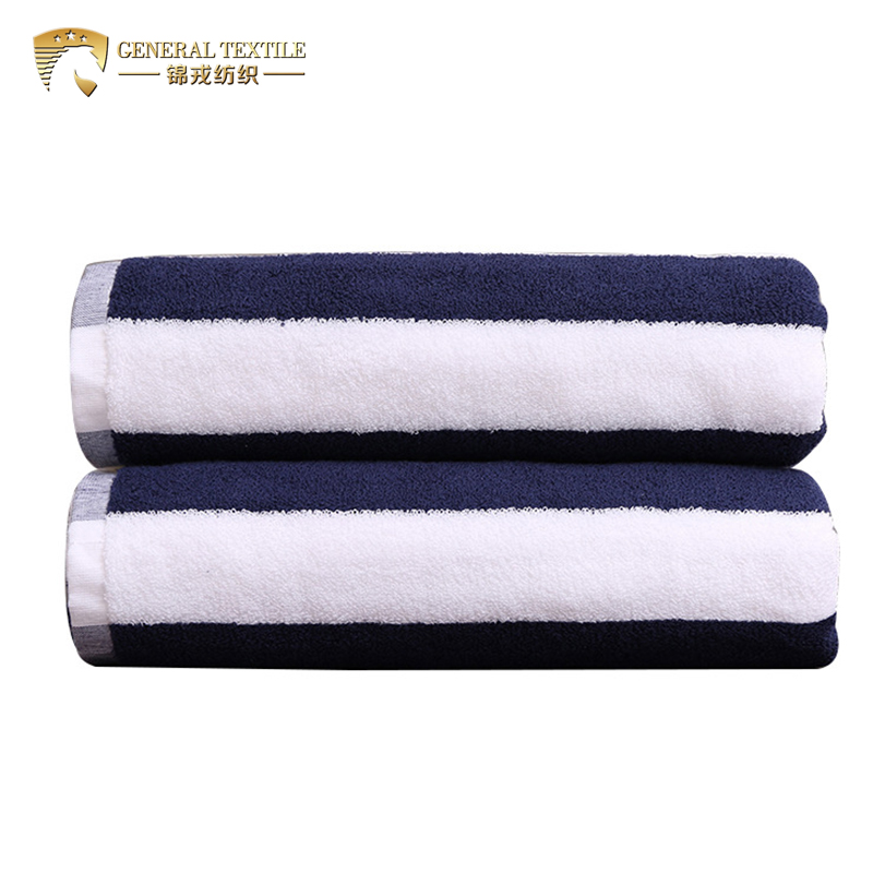 JR028 Promotional 100% Cotton White and Blue Striped Beach Towel in Stock