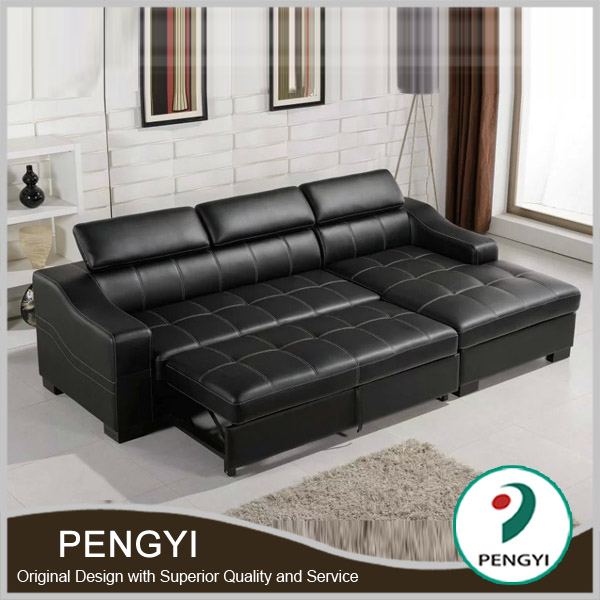 Black Leather Bed Sofa/sofa Leather Sofa Bed/l Shape Sofa Cum Bed Py1005 -  Buy Sofa Bed,Genuine Leather Sofa Bed,L Shape Sofa Cum Bed Product on ...