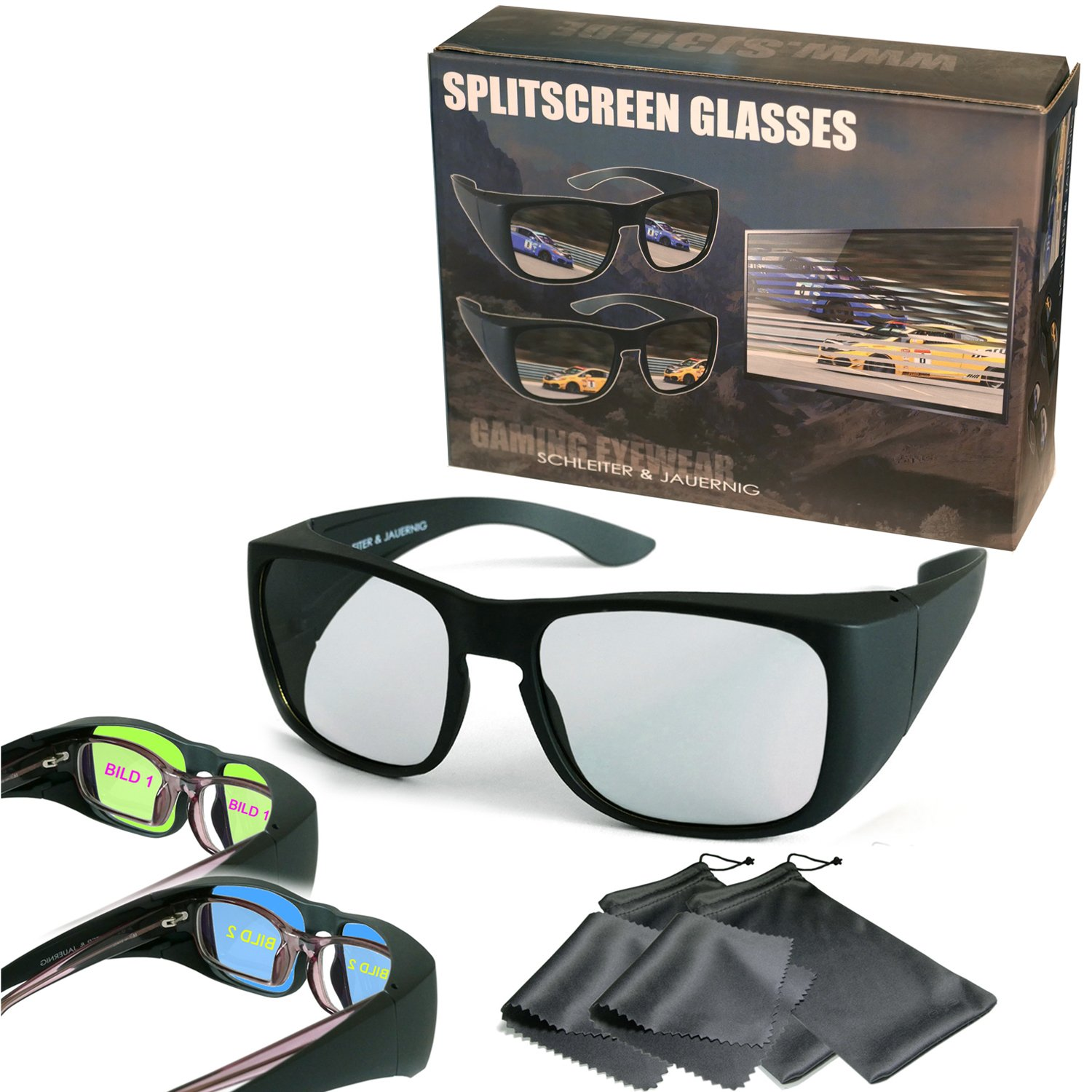2 Player Split Screen Gaming Overglasses Passive - Circular Polarized - Wear over optical glasses - For Dual Play by LG, Full Screen Gaming by Philips, SimulView by Sony, Dual Gaming by Grundig etc