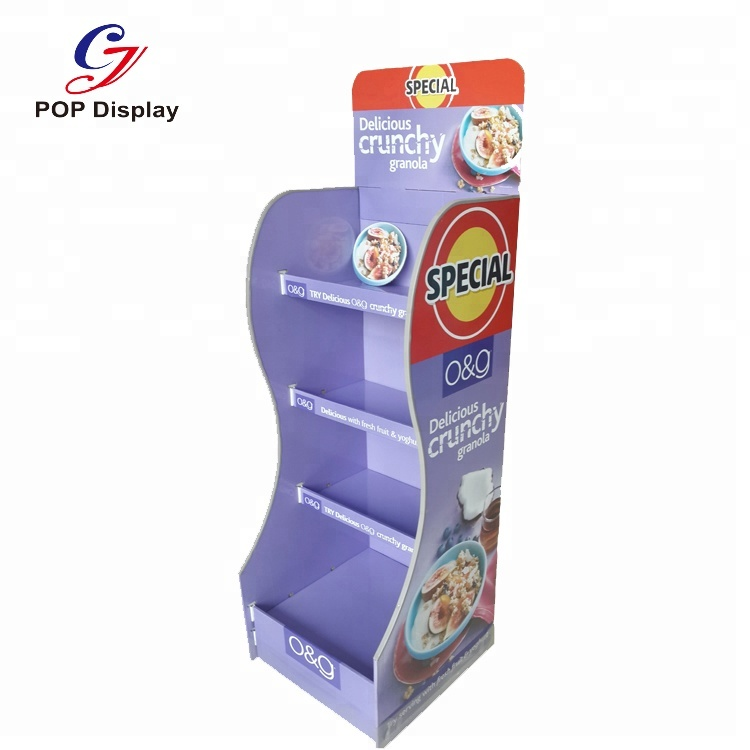 Supermarket Cardboard Display Stand For <strong>Retail</strong>, Paper Display Rack For Product Promotion , Custom Cardboard Display Stand