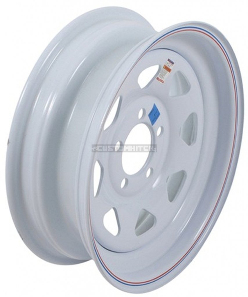"eCustomRim Trailer Wheel Rim #344 15x6 15"" 5 Bolt Hole 4.5"" OC White Steel Spoke w/Stripe"