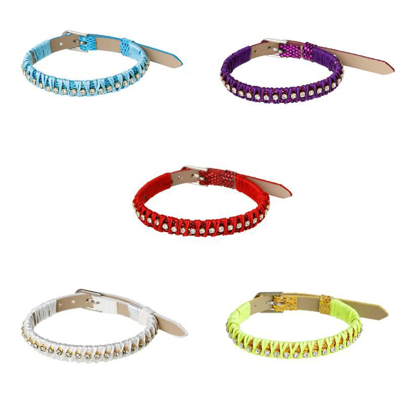 Leatheroid Wristband Bracelet Buckle Mixed With Terylene Cord Clear Rhinestone Sequins Glitter , 5 PCs
