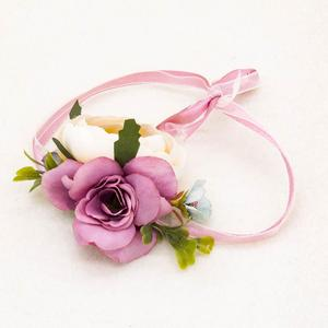 Natural artificial fabric dance flower bracelet women wedding bridesmain hand floral for girl