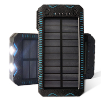 Waterproof outdoor solar charger cell phone portable solar cell powerbank 12000mAh with flashlight