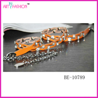 Wholesale New Women PU Leather Jean Dress Belts with Crystal Stone
