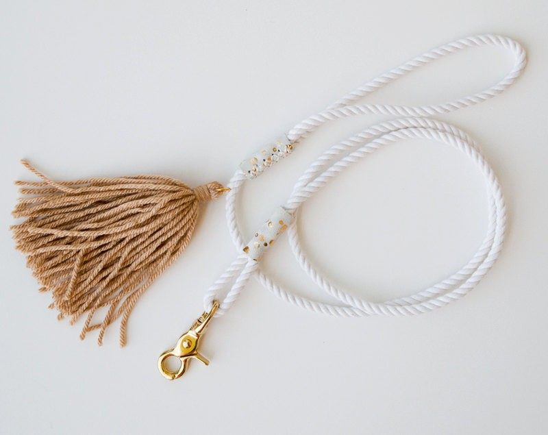 White Rope Dog Leash - White / Gold - Pet Lead Gatsby