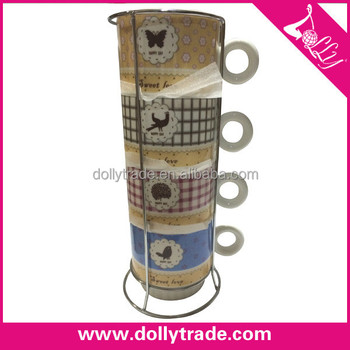 Colorful Printing 4pcs Stacking Coffee Mugs Gift Sets With Stand