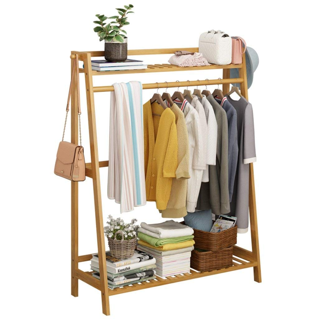 COAT RACK Free Standing, Solid Wood Coat Stand With 2 Side Hooks And 2-tier Shoe Clothes Storage Shelves, With Shelf For Decorative Home Storage (Color : 50cm long)