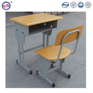 Adjustable modern classroom desk chair wooden school students single desk and chair set