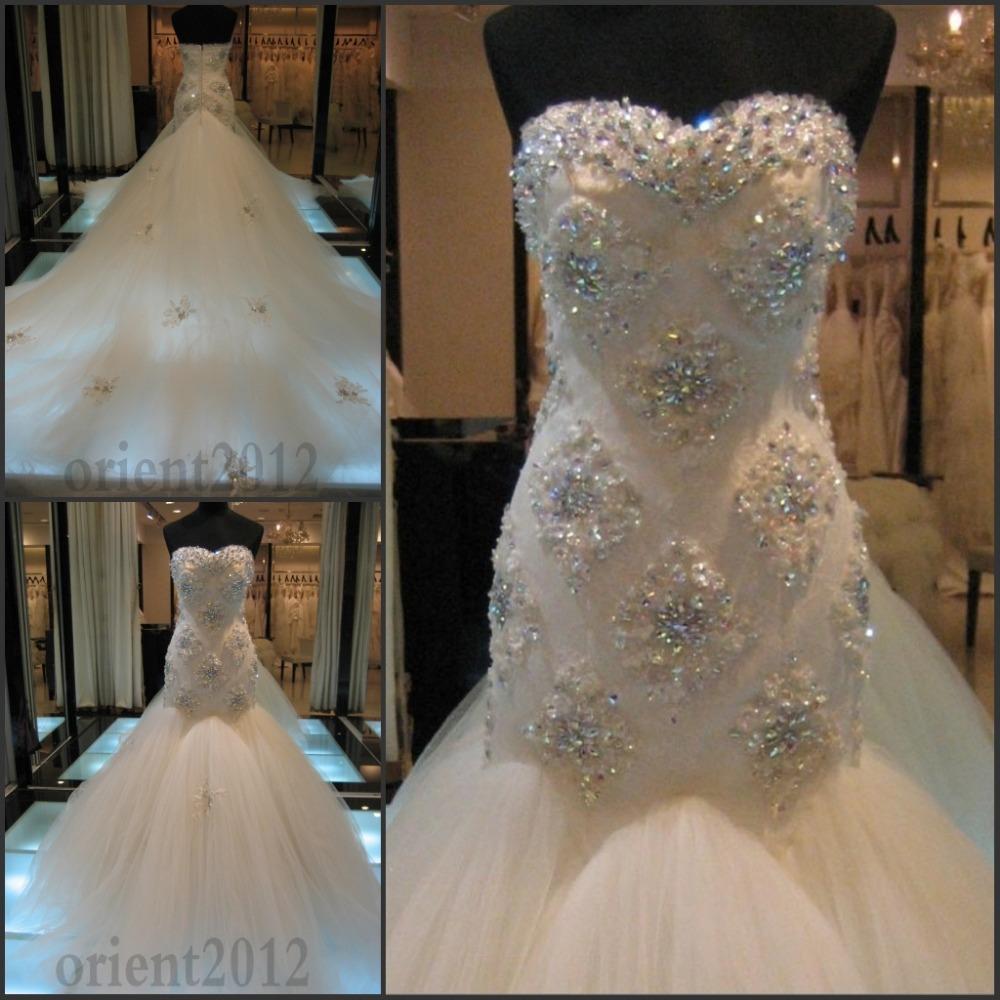 Wedding Dresses With Sweetheart Neckline And Sleeves: 2014 Crystal Bead Sequins Sweetheart Neckline Luxury