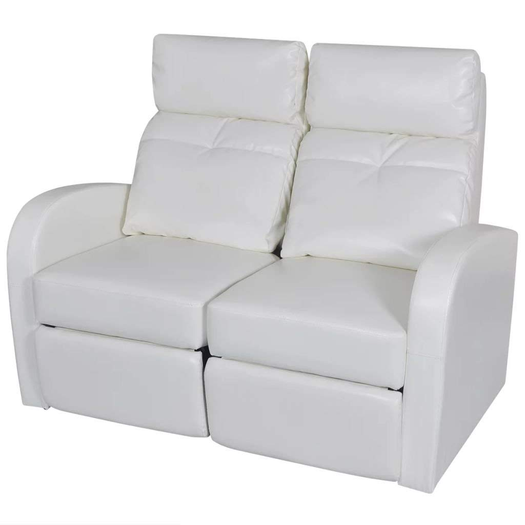vidaXL Home Theater 2-Seat Recliner White Artificial Leather Lounge Movie Cinema Seats