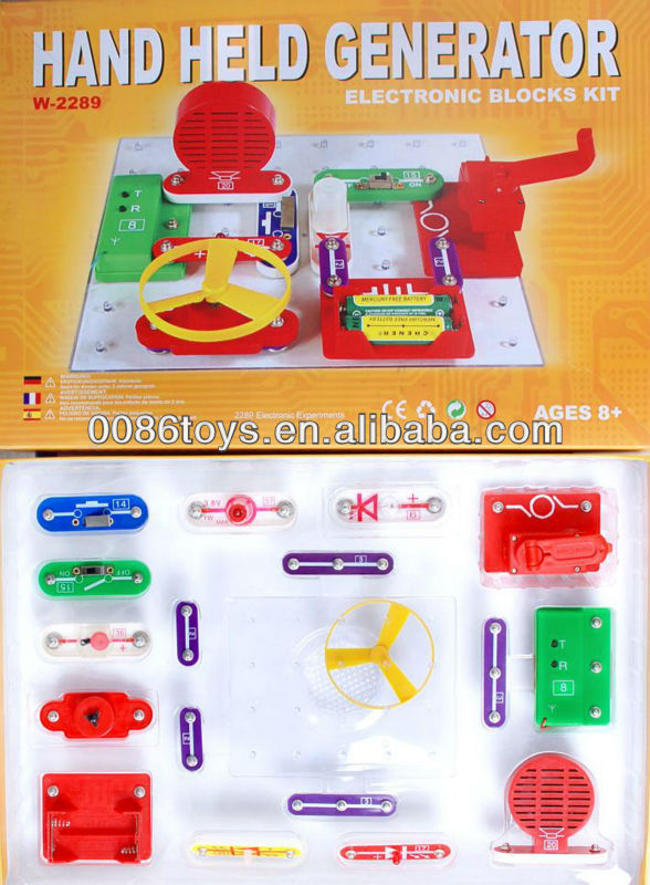 Electronic Block Kit Toy Hand Crank Electric Generator