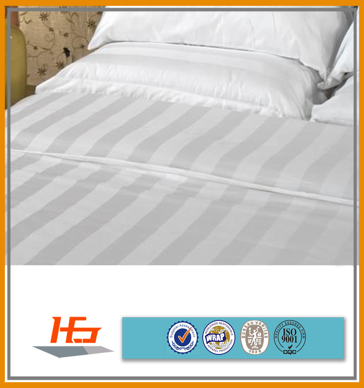 100% Cotton Material and Stripe Style King Size Flat Sheet