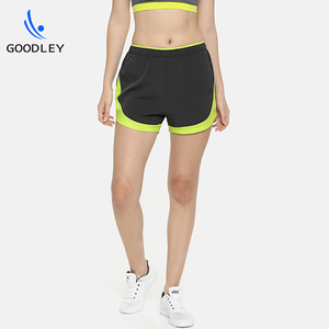 high quality contrast color dri fit woven fitness gym shorts for women