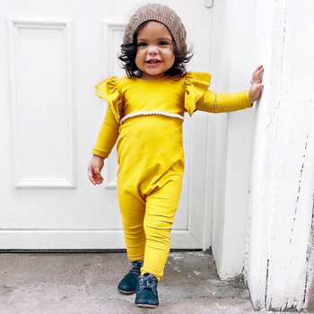 cfbb9acd3209 Lovely Newborn Baby Girl Long Sleeve Romper Yellow Clothes Toddler Kids fly sleeve  Jumpsuit One Pieces