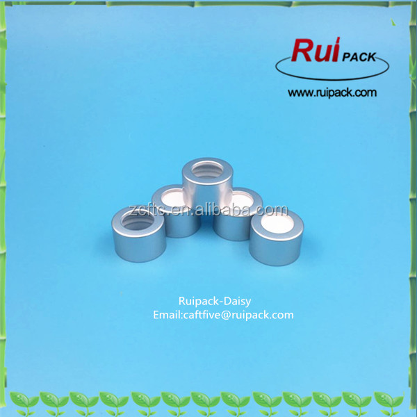 28/410 matte silver aluminum essential oil cap with hole