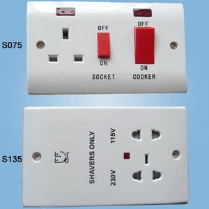 S075 S135 Slim Range Wall Cooker Switch and Shaver Socket