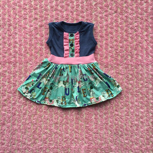 2016 hot sell latest summer dress sleeveless navy blue tops carousel pattern baby girl dress
