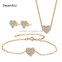 Crystal Heart Wedding Jewelry Sets Brand New Gold Color Pendants Necklaces Vintage Earring Punk Bracelet For Women