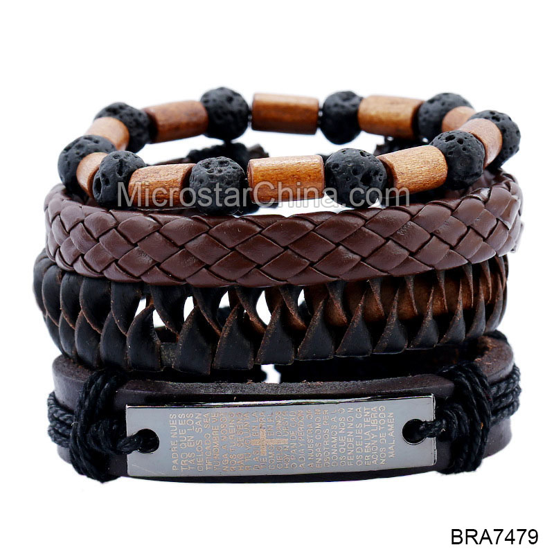 4pcs For 1 Set Punk Wrap Leather Bracelets For Women Men Cuff Jewelry Accessories Vintage Wood Bead