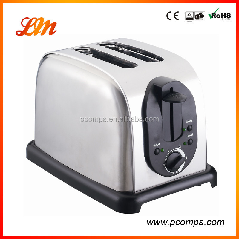 Stainless Steel 2 Slice Wide Slot Toaster with 6 Electronic Browning Setting