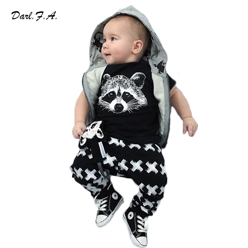 2016 Summer Baby Boy Clothes Cotton Fox Shirts + Cross Pants 2 Pcs Sets For Toddler Baby Outfits Newborn Clothing Sets