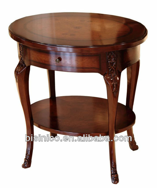 Queen Anne Series Living Room Furniture Antique Vintage Circular Double Layer Wine Table Occasional Side With Drawer View Unique