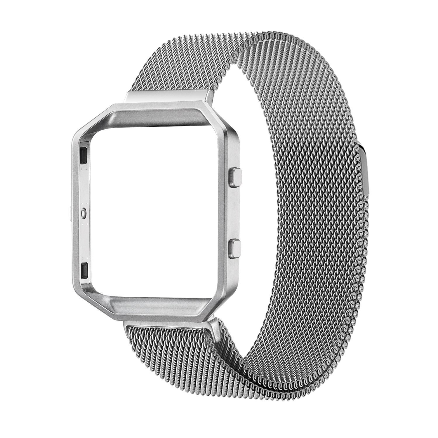 Fitbit Blaze Accessory Band,Large(6.3-9.1 in),Oitom Frame Housing+Milanese loop stainless steel Bracelet Strap for Fitbit Blaze Smart Fitness Watch (Silver Frame+Loop)