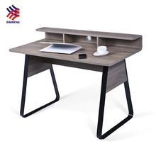 New design home office SOHO MDF with paper curve top computer table design desk with cable hole
