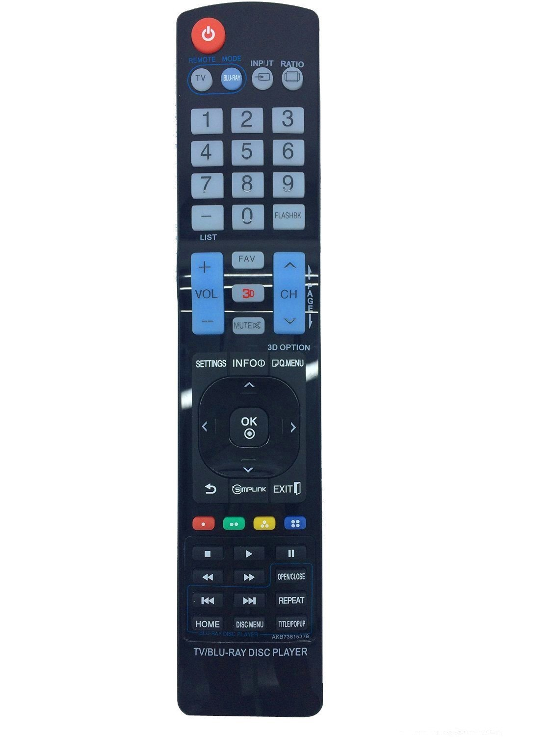 New AKB73615379 Universal BLU RAY Disc Player 3D TV Replaced Remote fit for Lg AKB72915206 AKB72915238 AKB72915252 AKB72914201 AKB72914207 AKB72914240 Akb73615363 And more
