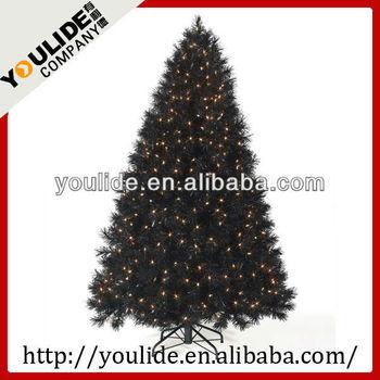 6ft(180cm) Pre-lit Led Lights Black Christmas Tree With Metal ...