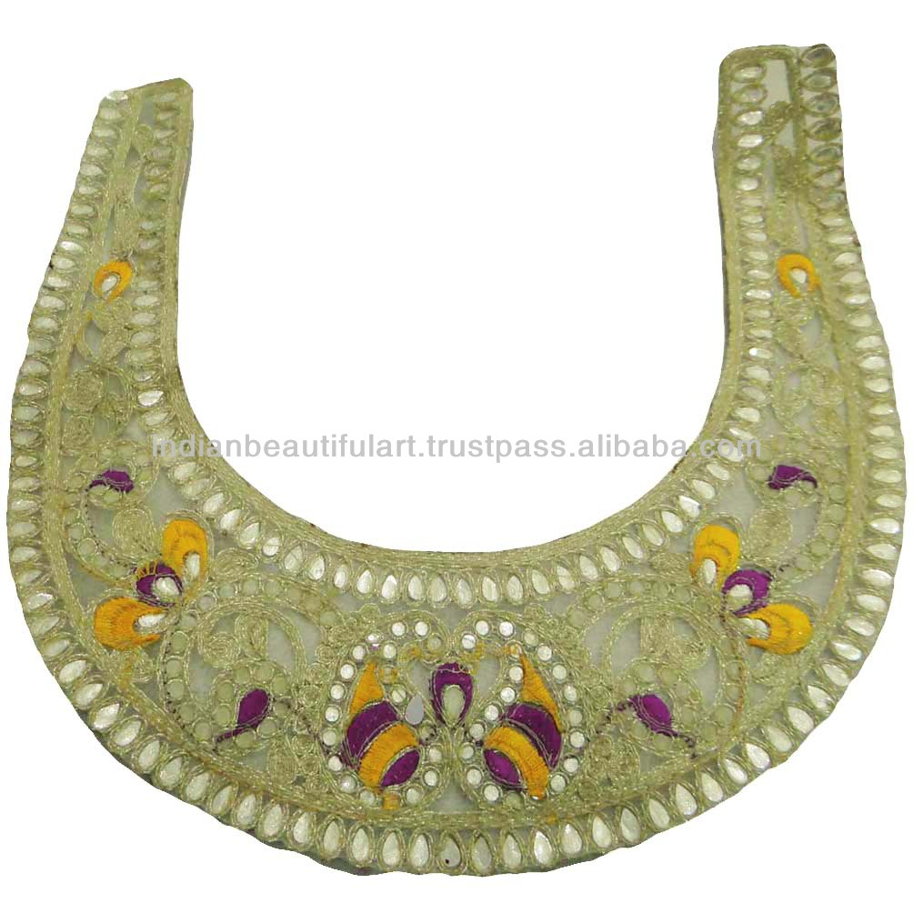 Embroidered Blue Neck & Arm Applique Traditional Cutwork Sewing ...