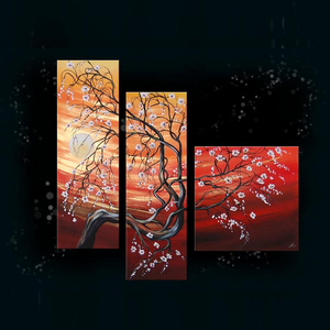 hotel decor 3pcs panel wall art painting with tree landscape oil painting