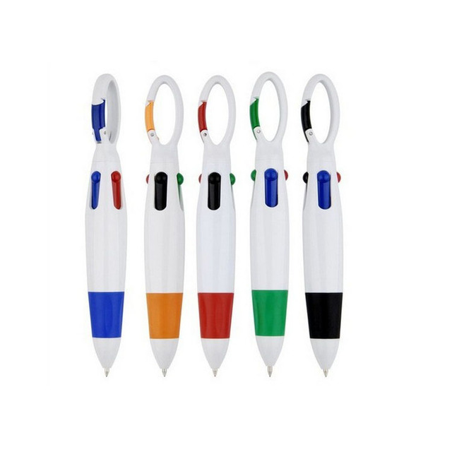 custom logo 4 color pen with carabiner pen for wholesale
