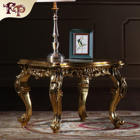 Hand Painting Round Coffee Table With Glass Top, Exquisite Wood Carved Side Table, Classical Style Living Room End Table