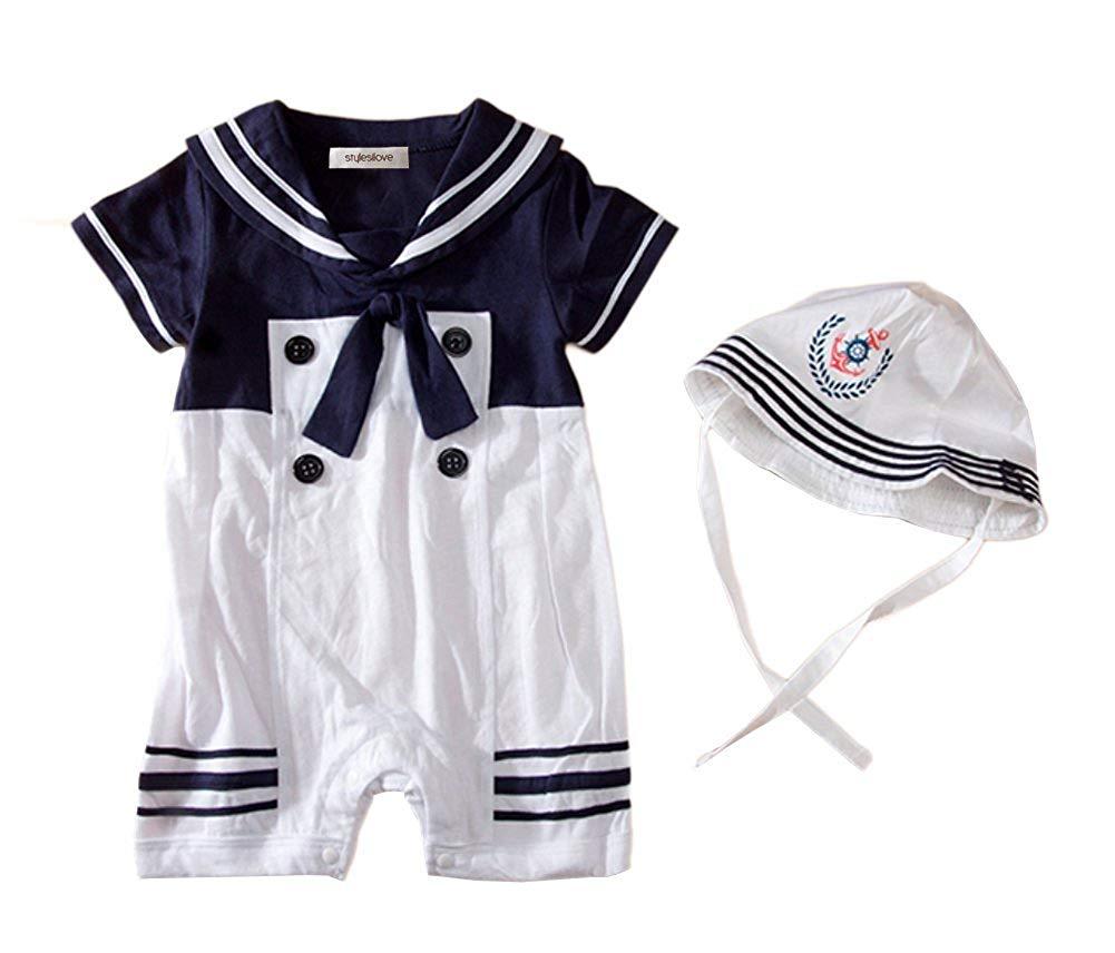 0f41cf0c1b6fc Get Quotations · stylesilove Baby Boys Sailor Romper Onesie With Hat 2-Piece  Suit